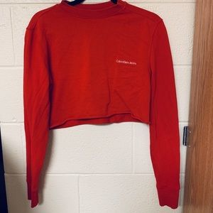 Cropped red Calvin Klein sweater